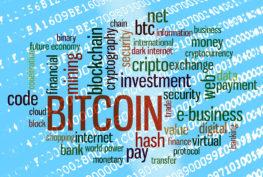 Bitcoin word cloud over binary code